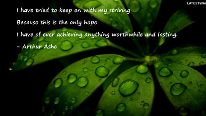 I have tried to keep on with my striving