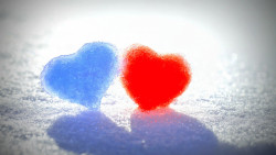 Blue Red Snow Hearts 1920x1080