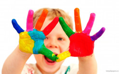 Baby With Colorful Hands