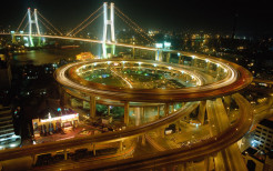 china shanghai bridge road city night lights