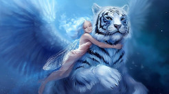 Fantasy Girl with tiger wallpaper