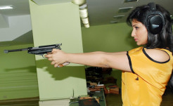 Parineeti Chopra with Gun in Yellow Top