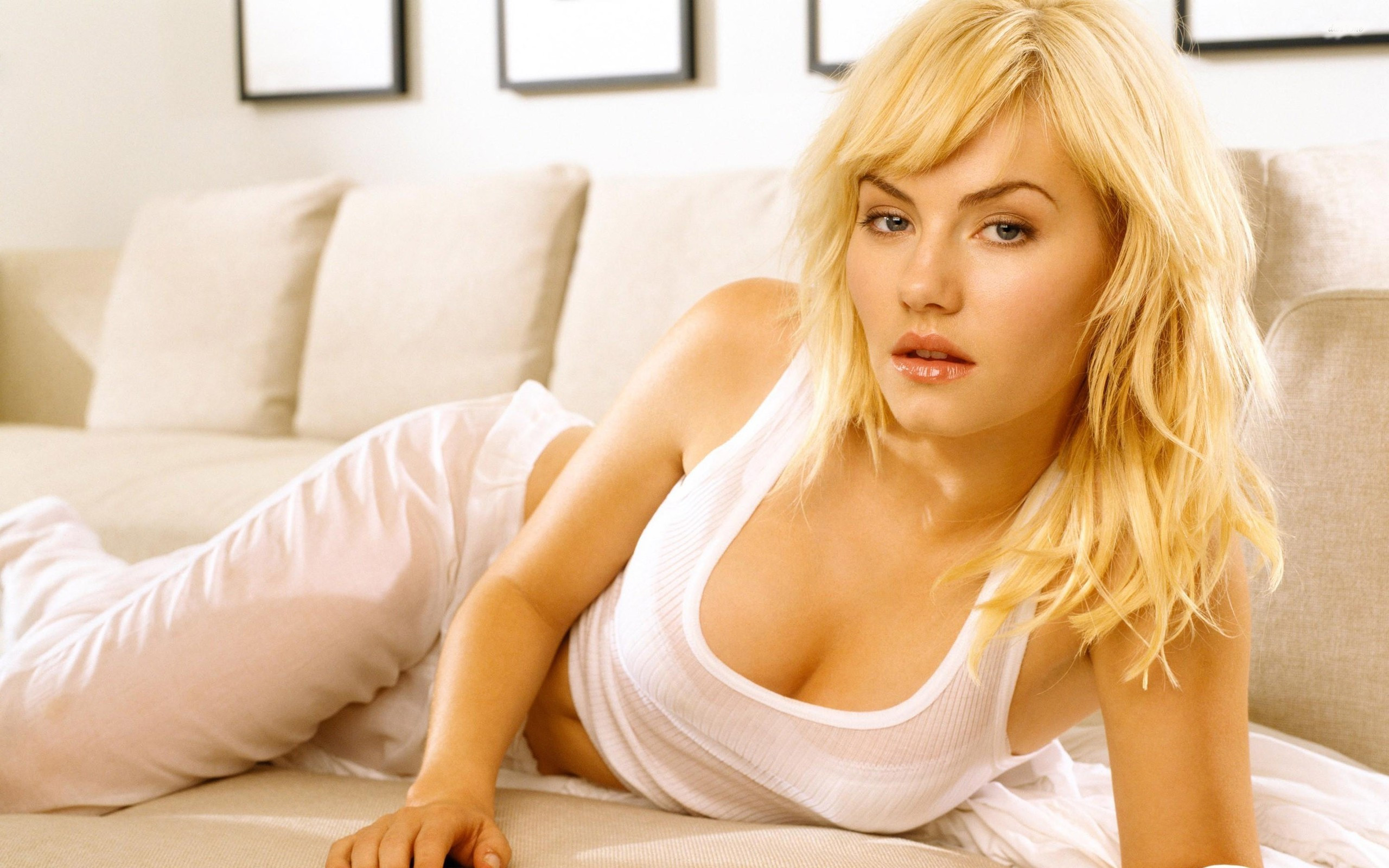 Actress Wallpaper - Hot Elisha Cuthbert in White dress at Latest Wall